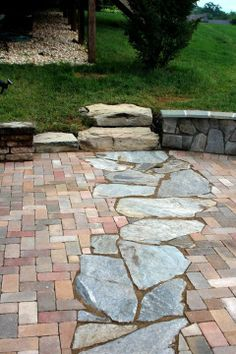 Patio John Magee Landschaftsdesign - All For Garden Garden Paving, Garden Paths, Backyard Patio, Backyard Landscaping, Landscaping Ideas, Pavers Patio, Patio Plants, Concrete Patio, Flagstone