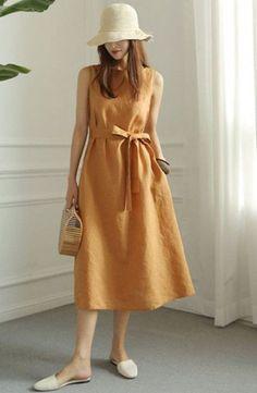 Retro Fashion Summer Short Casual Linen Dresses For Women - Description Return Casual Summer Dresses, Summer Dresses For Women, Simple Dresses, Short Dresses, Dress Summer, Linen Dresses, Cotton Dresses, Minimalist Dresses, Moda Casual