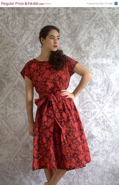 Vintage 1940s Cocktail Dress 40s Red Floral by SassySisterVintage, $59.20