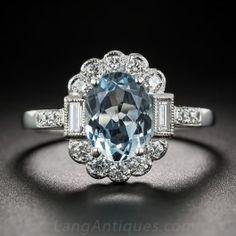 Vintage Style Aquamarine and Diamond Ring