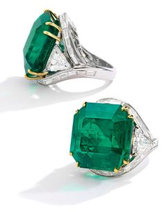 Emerald and Diamond Ring, Oscar Heyman & Brothers. Set with a square emerald-cut emerald weighing carats, accented by two modified triangular brilliant-cut diamonds weighing and carats, further highlighted by baguette diamonds. Emerald Jewelry, Diamond Jewelry, Emerald Rings, Ruby Rings, Eternity Ring Diamond, Brighton Jewelry, Jewelry Stores, Jewelry Companies, Or Rose