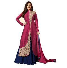 This is a fashionable pink and blue color combination of anarkali dress and the fabric is premium quality banglori silk and it has an awesome design. the pink color dress has a collar neck and long sleeves and the dress special attraction is one side shoulder to bottom has a cream and gold color floral embroidery work and it middle has a sparkly stones are studded and it looks beautiful. The dress has a plain blue color georgette material lehenga and pink color nanzeen fabric dupatta and it…