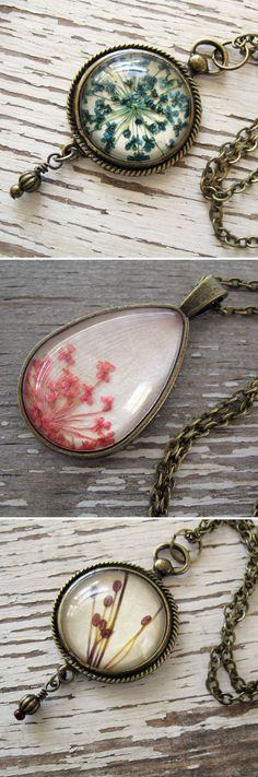 Elegant pieces of jewelry featuring the natural beauty of real pressed flowers, leaves, and seeds.