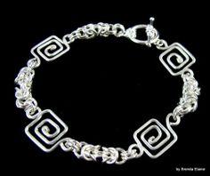 Greek Key and Byzantine Chain Bracelet | byBrendaElaine - Jewelry on ArtFire