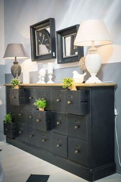 Black sideboard 18 drawers in solid pine - Manor - - Recycled Furniture, Painted Furniture, Home Furniture, Design Furniture, Black Sideboard, Furniture Collection, Ikea, Sweet Home, Room Decor