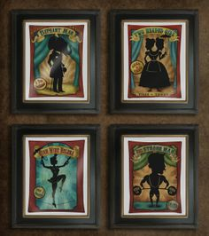 Circus of silhouettes set of any 4 8x10 prints - dark carnival art. $65.00, via Etsy.
