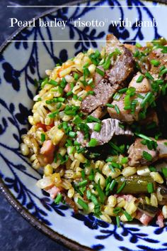 "Pearl barley ""risotto"" with Lamb – Nik Nak Food. Barley Risotto, Pearl Barley, Lamb Stew, Lamb Dishes, Healthy Recipes, Healthy Foods, Stuffed Mushrooms, Food And Drink, Eat"