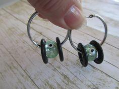 Green Hoop Earrings,Silver Hoop Earrings,Black Hoop Earrings,Hoop Earrings,Birthday Gift Women,Green Earrings,Silver Earrings,Black Earrings by BrownBeaverBeadery on Etsy