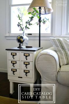 DIY Card Catalog Side Table- a way to upcycle any small box or drawers into a table! Inspired by a Cost Plus World Market table and featuring a table top globe - a perfect match! Diy Furniture Projects, Repurposed Furniture, Furniture Makeover, Painted Furniture, Home Furniture, Furniture Design, Automotive Furniture, Automotive Decor, Handmade Furniture
