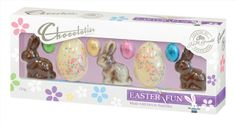 EAS223 - The Chocolatier Bunnies With Speckled Eggs & Mini Eggs New contains 16 units per box with a weight of 150g.