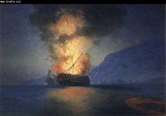 Ivan Aivazovsky Exploding Ship