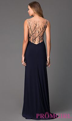 V-Neck Floor Length Dress with Sheer Back at PromGirl.com