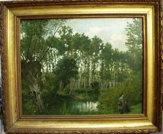 Large 19th Century Barbizon School  Antique Oil Painting Young Girl with Dog #Impressionist