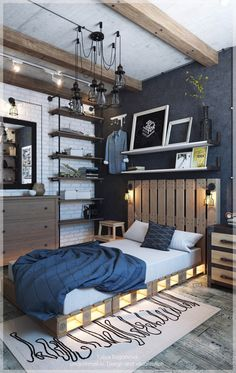 Industrial style interior designs emerged as a kind of combination of warm rustic and cool Scandinavian interior decoration styles. Industrial Bedroom Design, Industrial Interiors, Industrial Kitchens, Industrial Lamps, Industrial Furniture, Design Bedroom, Home Interior, Interior Design, Scandinavian Style Home