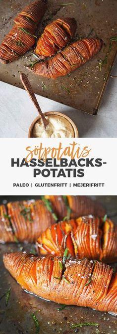 Recept: Hasselbackspotatis på sötpotatis med hummus. Paleo / glutenfritt / Mejerifritt I Love Food, Good Food, Yummy Food, Paleo Vegan Diet, Vegetarian Recipes, Healthy Recipes, Food Hacks, Food Inspiration, Recipes From Heaven