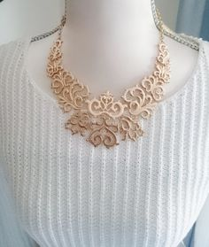 Captivating Necklace Gold Tone Floral Metal Bib by BrownJewels