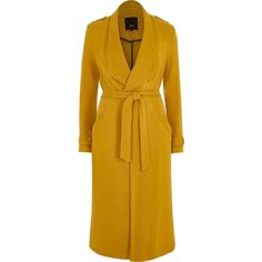 River Island Mustard yellow belted duster trench coat ($136) ❤ liked on Polyvore featuring outerwear, coats, coats / jackets, women, yellow, river island, long sleeve coat, river island coats, yellow coat and yellow trench coat