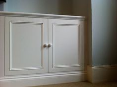 MDF doors (a grade) and pine mouldings Hallway Cupboards, Alcove Cupboards, Built In Cupboards, Alcove Tv Unit, Alcove Storage, Alcove Shelving, Chimney Breast Shelving, Hall Cupboard, Furniture