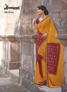 This orange & red color saree looks amazing with its spectacular prints.