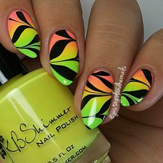 @kbshimmer Bahama Drama, Rum Me The Right Way, and For Sail By Owner then did a watermarble on top using @blacklunalacquer Thigh Highs and Essie Millionails. Hope you like! And Bev, hope you're having a fabulous time in España! !