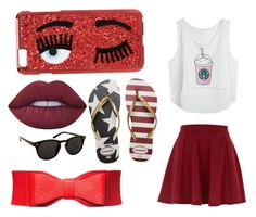 """Red"" by linavanmourik on Polyvore featuring Chiara Ferragni, River Island, Havaianas en Lime Crime"
