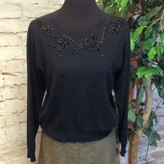 """LIZ CLAIBORNE JEWEL EMBELLISHED SWEATER Pretty black sweater with jewel embellishments.. Some minor pilling but can be easily removed with a sweater shaver.. Lying flat Bust 20"""" length 20.5"""" SB-1 Liz Claiborne Sweaters Crew & Scoop Necks"""