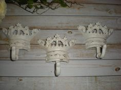 Set of 3 / WHITE / Princess Crown Hook/ Cast Iron by FromShab2Chic, $29.99