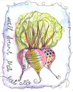 Well Doesn't That Beet All #freeformsewing, #watercolor, #art, #whimsical art, kitchen art, #food art