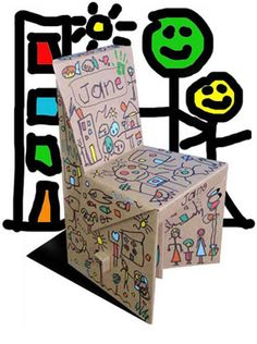 Zeppochair - made of cardboard and kids can decorate it! Good party idea.