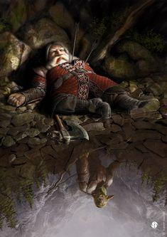 ~ The Death Of Balin ~ The Hobbit illustration By David Gaillet Fantasy Dwarf, Fantasy Rpg, Medieval Fantasy, Fantasy Artwork, Fantasy World, Fantasy Life, Dungeons And Dragons, Das Silmarillion, O Hobbit