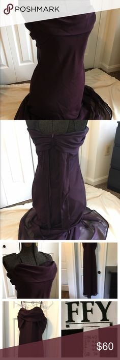 🛍Sale🛍Elegant,Purple/Eggplant Evening gown/dress Beautiful floor length formal gown. Great for weddings, proms or any formal events. Dark eggplant purple, Flowy neckline and butterfly back with sash tie. Spaghetti straps. Only worn twice and in great condition. German size 40, US size 10 Dresses Wedding