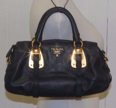 nwot Authentic PRADA Handbag Soft Calf Leather BN1904 in Baltico DK BLUE Satchel #PRADA #Satchel