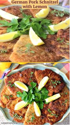 German Pork Schnitzel has a light lemony flavor and a crispy outside coating. When you want a memorable meal that can be made in minutes, this is the recipe to reach for. #porkschnitzel #oktoberfestrecipe #germanrecipe #schnitzel #breadedporkchops #30minutemeal #easydinnerrecipe #familydinner #skilletdinner #pork #porkchops #kudoskitchenrecipes #germandinner