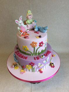 2 tier Flower Garden 1st Birthday cake