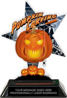 Halloween Scary Pumpkin Desktop Series Free Lettering Jack-O-Lantern Trophy