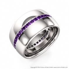 Amethyst Eternity Ring Wedding Band for Him