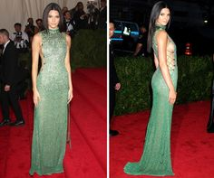 Kendall Jenner went for subtle sexiness in her mermaid green Calvin Klein gown at the Met Gala 2015