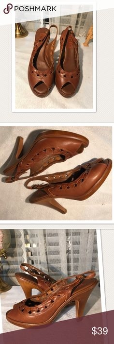 "Michael Korrs Slingback Peep Toe Pumps Classic brown  leather cushioned sole Michael Kors sling back pumps. Peep toe with a 3.5"" heel and a .5 platform. New never worn Michael Kors Shoes Heels"