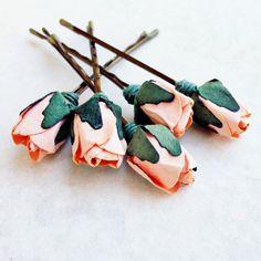 Peach Pie Rose, Peach Hair Flower, Bridal Hair Accessories, Bohemian Wedding Hair Flower, Peach Flower Bobby Pins - Set of 5 on Etsy, $23.67