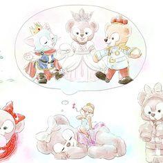 いいね!1,694件、コメント2件 ― クロクマさん(@kurokuma824)のInstagramアカウント: 「続き。 クラリスとシェリーメイ、プリンセスシェリーメイとプリンスダッフィー&ジェラトーニのリクエストをくっつけました。…」 Disney Dream, Disney Love, Disney Magic, Disney Art, Disney And Dreamworks, Disney Pixar, Disney Drawings, Cute Drawings, Disney Illustration