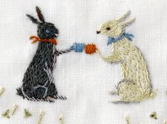Embroidery of a rabbit
