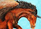 ACEO Original Fantasy Painting Horse Art Pegasus Unicorn