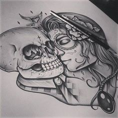 skull love by edwardmiller designs interfaces tattoo design 2014 2015 . Sick Tattoo, Badass Tattoos, Love Tattoos, Body Art Tattoos, Tatoos, Kiss Tattoos, Awesome Tattoos, Skull Couple Tattoo, Couple Tattoos