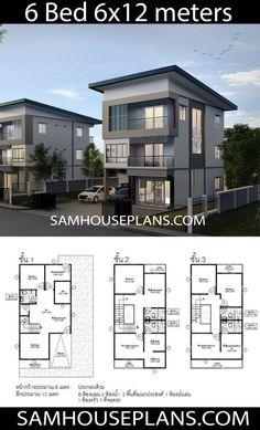 Home Layout Plans 356910339221096651 - House Plans Idea with 6 Bedrooms – Sam House Plans Source by chouniap 6 Bedroom House Plans, Duplex House Plans, Family House Plans, New House Plans, Dream House Plans, 2 Storey House Design, Duplex House Design, House Front Design, Small House Design
