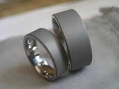 Titanium ring set in matte gray sandblasted with polished smooth interior by titaniumknights