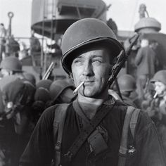 An American Marine readies to land on Guadalcanal during the five-month struggle for the island between late 1942 and early 1943. Three thousand miles south of Tokyo, Guadalcanal was a major shipping point for military supplies. The Allied victory there in February, 1943, marked a major turning point in the war after a string of Japanese victories in the Pacific.