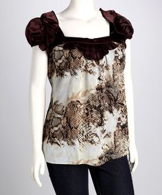 Take a look at this Black & Brown Plus-Size Puff-Sleeve Top by Madison Paige: Plus-Size on @zulily today!
