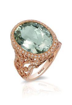 Gemma 14K Rose Gold Green Amethyst & Diamond Ring