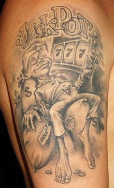 Tattoo Andrei Ivanov - tattoo's photo In the style Chicano, Male, Differe Design Tattoo, Tattoo Designs, Card Tattoo, 777 Tattoo, Dice Tattoo, Gambling Machines, Gambling Quotes, Gambling Tattoos, Graffiti