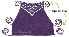Crochet step by step: Top with detail in fantasy point! Tops A Crochet, Crochet Crop Top, Love Crochet, Crochet Bikini, Knit Crochet, Crochet Clothes, Diy Clothes, Knitting Patterns, Crochet Patterns